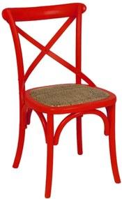 Cadeira em Assento Rattan Vermelha