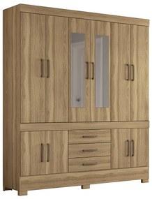 Guarda-Roupa Bridget D01 com Espelho 10 Portas Amêndola Touch - ADJ DECOR