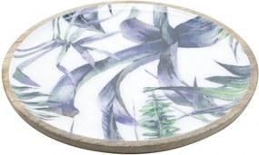 Bandeja Bon Gourmet Naturals redonda em madeira Flower Colorido