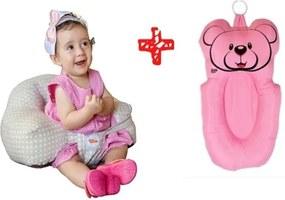 Almofada banho + almofada amamentaçÁo Baby Holder rosa senta-bebê