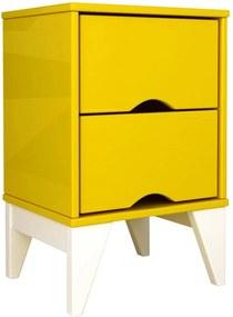 Mesa de Cabeceira 2 Gav. Twister Amarelo/Branco Tcil Móveis