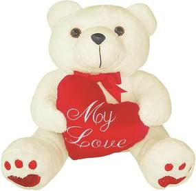 Urso Soft Médio Bege com Coração Plush My Love Vermelho