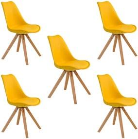 Kit 5 Cadeiras Decorativas Sala e Escritório Neo (PP) Amarela- Gran Belo