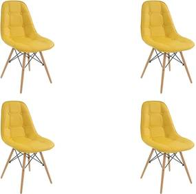 Kit 4 Cadeiras Decorativas Sala e Escritório Cadenna (PU) Amarela - Gran Belo