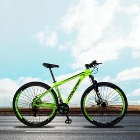 Bicicleta Aro 29 Quadro 17 Alumínio 21 Marchas Freio a Disco Mecânico Color Amarelo/Preto - Dropp