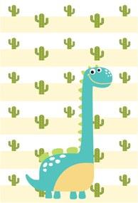 Placa Decorativa Quartinhos MDF Infantil Dinossauro Baby 2 Turquesa