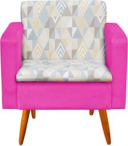 Poltrona Decorativa Emília Linho A17 com Suede Pink - D'Rossi