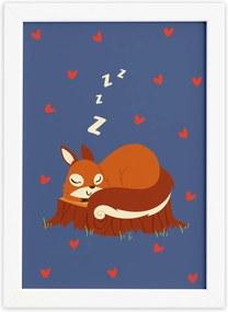 Quadro Infantil Esquilo Dormindo Moldura Branca 33x43cm