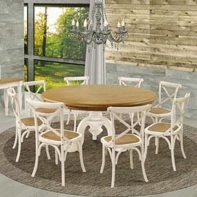 Jogo Mesa de Jantar Mariah Oregon 160cm com 08 Cadeiras Blair Branco Provençal - Gran Belo