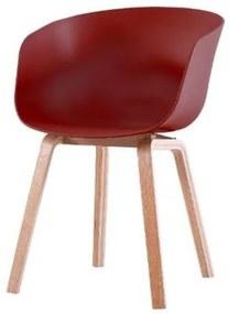 Cadeira com Bracos Dino Marsala Pes Madeira 55cm - 60533 Sun House