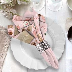 Guardanapo de Tecido Natal Premium Rosa Kit com 2 pçs