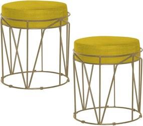 Kit 2 Puffs Decorativo Sala de Estar Base Gold Chloe Suede Amarelo - Gran Belo