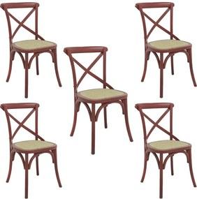 kit 5 Cadeiras Decorativas Sala De Jantar Cozinha Danna Rattan Natural Vermelha - Gran Belo