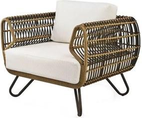 Poltrona Saratoga Estrutura Aluminio Revestido em Fibra cor Bege Madrid - 44685 Sun House