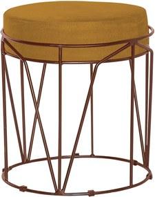 Puff Decorativo Sala de Estar Base Bronze Chloe Suede Mostarda - Gran Belo