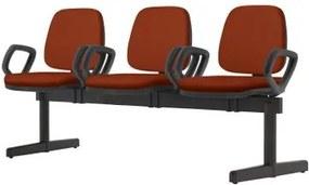 Longarina Job com Bracos 3 Lugares Assento Courino Vermelho Base Metalica Preta - 54502 Sun House