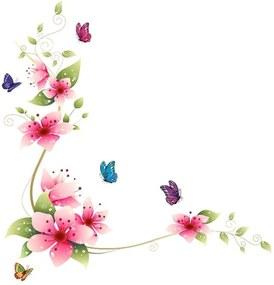 Adesivo de Parede Divanet Borboletas e Flores Colorido