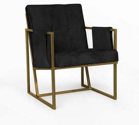 Poltrona Megan Luxo  Decorativo Base Dourado Suede Preto