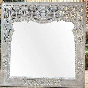Espelho com Painel em Madeira Branca