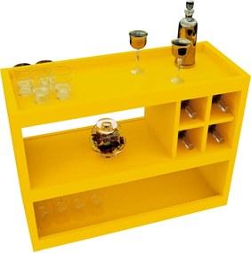 Aparador Bar 4050 Luxo Amarelo Brilho Móveis JB Bechara