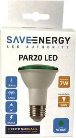 Lâmpada de Led PAR20 E27 7W Verde - Save Energy - Bivolt