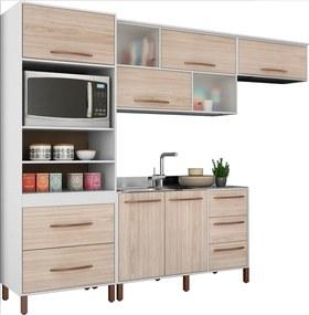 Cozinha Compacta Canela Branco e Bege Móveis Albatroz