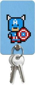 Porta Chaves Ecológico Capitão Pixel América Geek10 - Azul