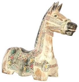 Escultura Cavalo de Madeira - Branco