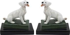 Par de Cachorro Branco em Porcelana - 18x11x17cm