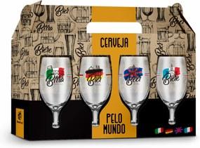 Conjunto 4 taÇas windsor - funny - cervejas pelo mundo