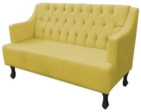 Namoradeira Ônix Capitonê 2 Lugares 1,20 m Decorativa Recepção Sala Suede Amarelo