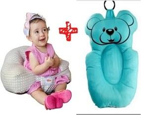 Almofada banho + almofada amamentação Baby Holder azul senta-bebê