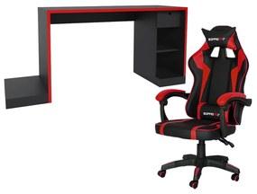 Conjunto PlayerXTreme Mesa e Cadeira Gamer Preto Texturizado/Vermelho - Gran Belo