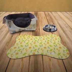 Tapete PET Mdecore Osso Animais Amarelo54x39cm