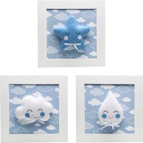 Trio De Quadros Chuva de Amor Quarto Bebê Infantil Potinho de Mel Azul
