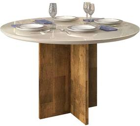 Mesa de Jantar Aura Tampo Redondo para 4 Cadeiras 103cm Demolição Off White