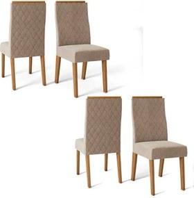 Conjunto 4 Cadeiras Cássia Carvalho Nobre Tecido Veludo Kraft