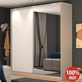 Guarda-roupa Solteiro 2 Portas Correr 1 Espelho Rc2006 Noce/Branco - Nova Mobile