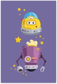 Placa Decorativa MDF infantil Robô Lilás 30x40cm