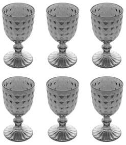 Jogo Taças Para Vinho 6 Peças Vidro Diamant Cinza 245ml 28241 Bon Gourmet