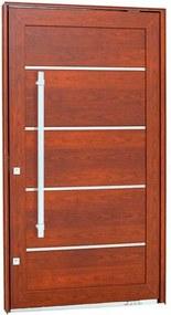 Porta Pivotante Lambris Horizontais com Friso e Puxador Alumínio Madeira 243,5x146,2x12cm Esquerda Aluminium - 72461126 - Sasazaki - Sasazaki