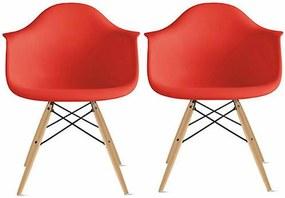 Conjunto 2 Cadeiras Eiffel Eames DAW Vermelha