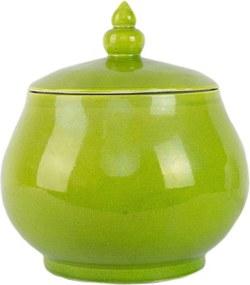 Pote em Porcelana Bojuda com Tampa e Gomos Verde Limão