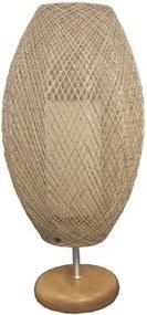 Luminária De Mesa Madeira Juta Balão Têxtil