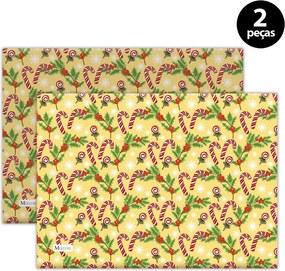 Jogo Americano Mdecore Natal Bengala 40x28 cm Amarelo2pçs