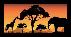 Quadro Alto Relevo Girafa Elefante Arvore Floresta Laranja40x75cm