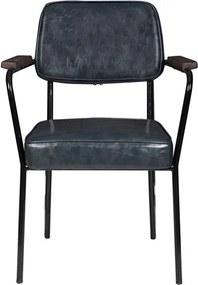 Cadeira George C/Braço em Metal e Couro Cinza