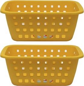 2 Cesto Caixa Organizadora Grande 5 Litros Amarela Ordene