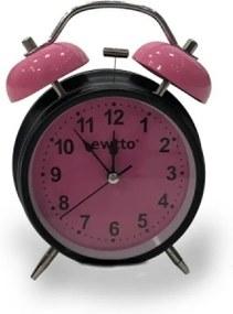 Relógio preto com rosa redondo