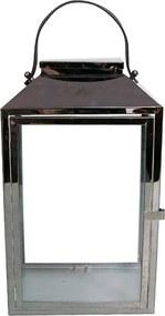 Lanterna Decorativa China Alumínio e Vidro Quadrada com Alça de Couro Grafite G